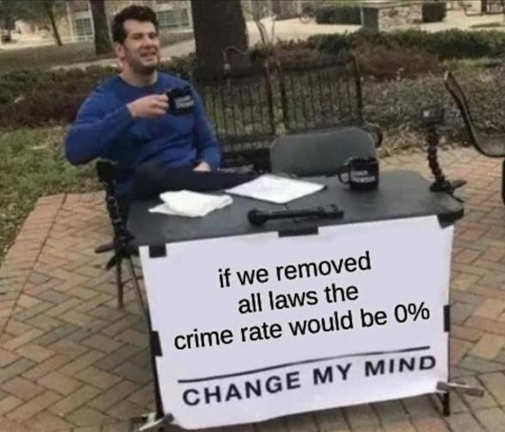 if removed all laws crime rate 0 change my mind