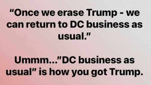 message once erase trump business usual dc that is how you got trump