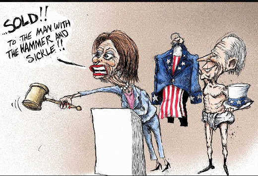 nancy pelosi joe biden usa sold to man with hammer and sickle