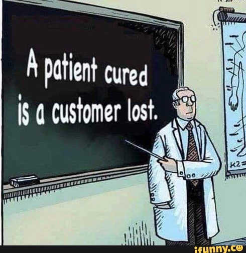 patient cured is customer lost chalkboard