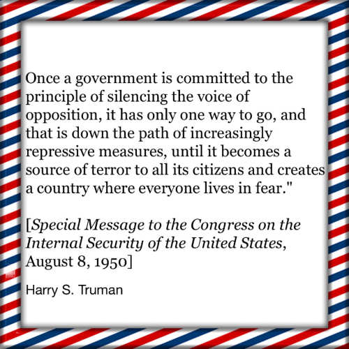 quote harry truman once government commits silencing voices repression