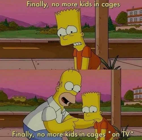 simpsons finally no more kids in cages on tv biden vs trump
