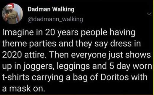 tweet imagine 20 years 2020 theme attire masks leggings 5 day shirt