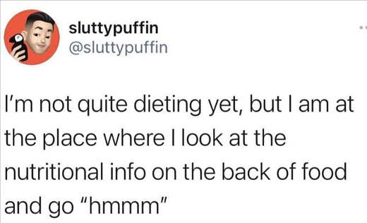 tweet not quite dieting yet looking at nutritional info hmmm