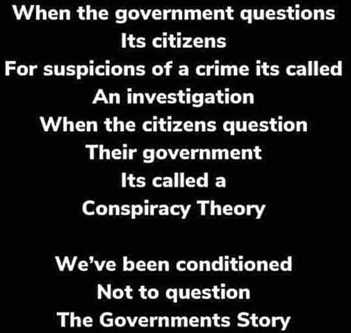 when government questions citizens investigation individual conspiracy theory conditioned