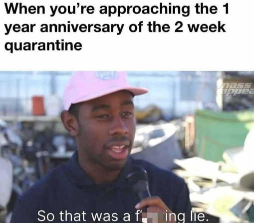 when you approach 1 year anniversary of 2 week quarantine fing lie