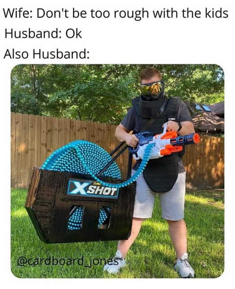 wife husband dont be too rough kids nerf minigun