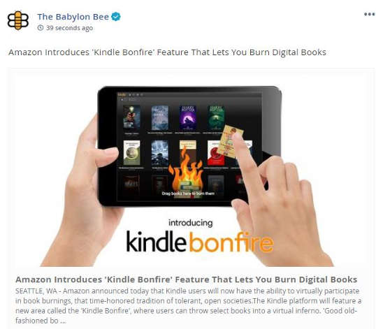 babylon bee amazon introduces kindle bonfire burn digital books