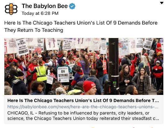babylon bee list of teacher union demands before return to school