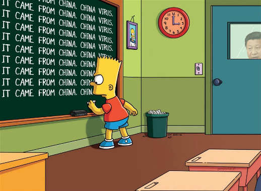 bart simpson chalkboard covid came from wuhan china virus