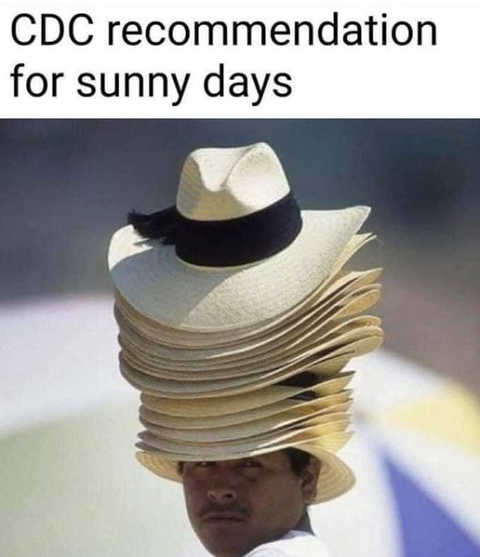 cdc recommendation sunny days multiple hats