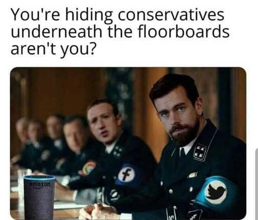 dorsey zuckerberg facebook twitter google hiding conservatives underneath floorboards nazis