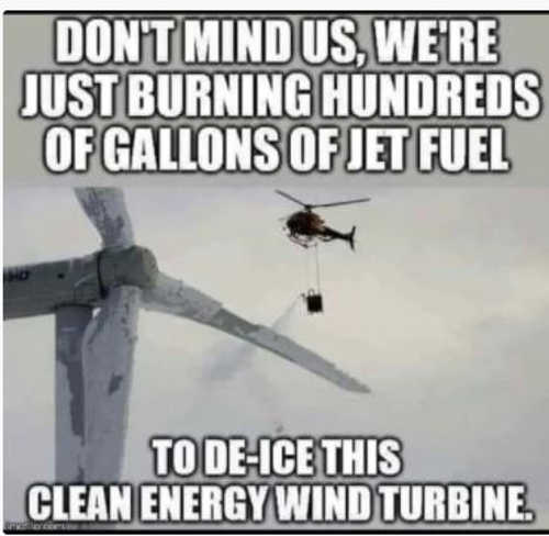 helicopter burning jet fuel to deice clean energy wind turbine