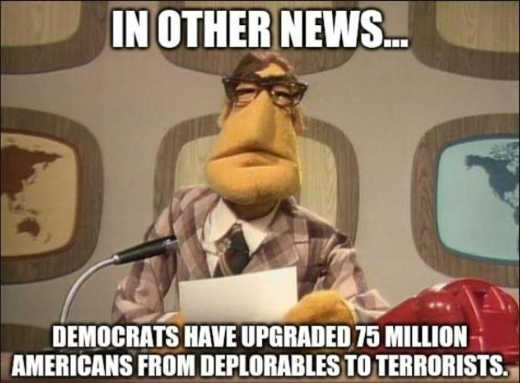 in other news democrats upgraded 75 million deplorables to terrorists