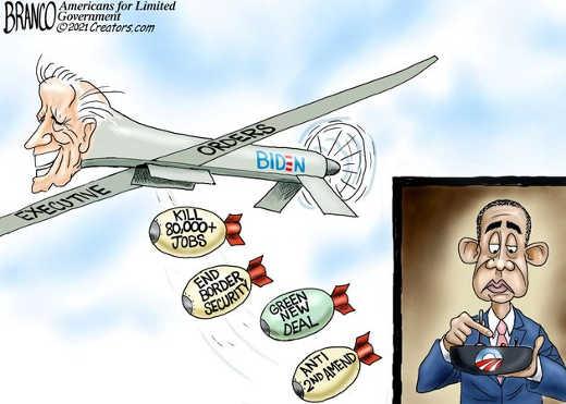 joe biden obama executive orders kill jobs end border security green new deal bombs