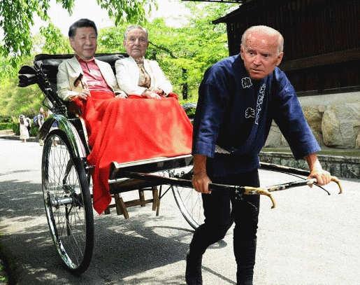 joe biden pulling riickshaw china president george soros