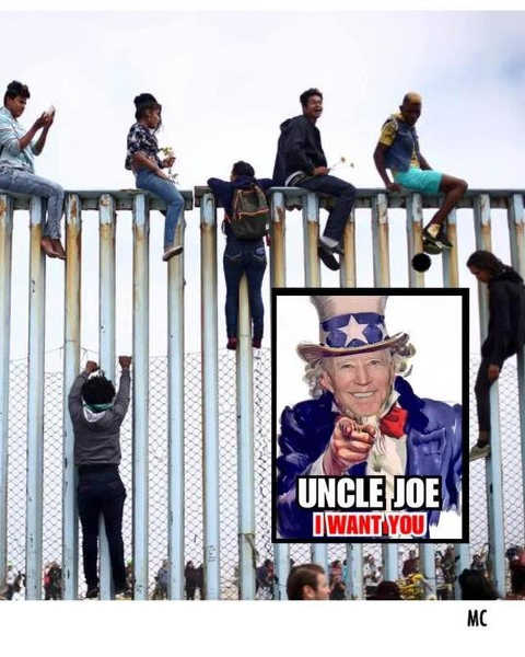 joe biden want you illegal immigrants climbing wall