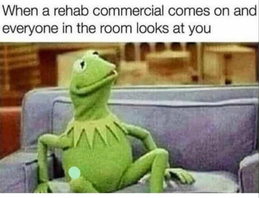 kermit rehab commercial comes everyone looks at you