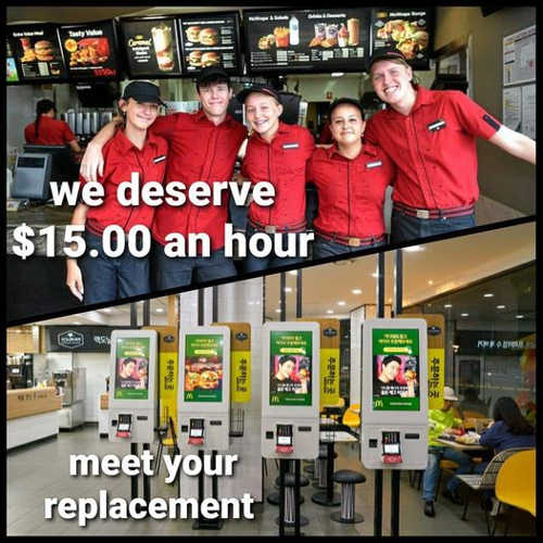 mcdonalds workers deserve 15 an hour meet replacement machines