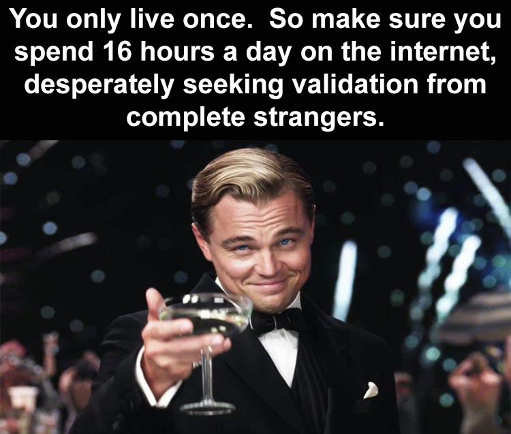 message you only live once so stay online 16 hours per day seeking validation from strangers