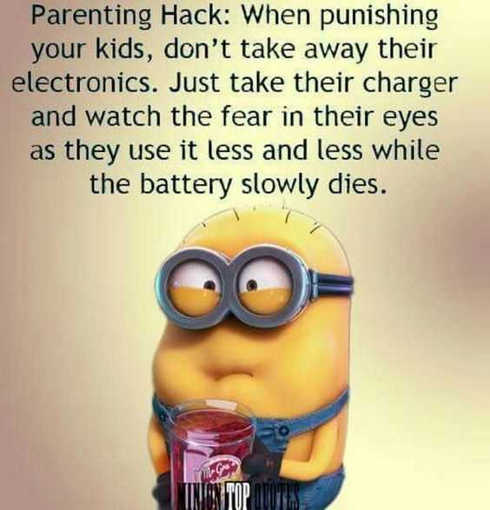 minions parenting hack take away charger watch phone dies