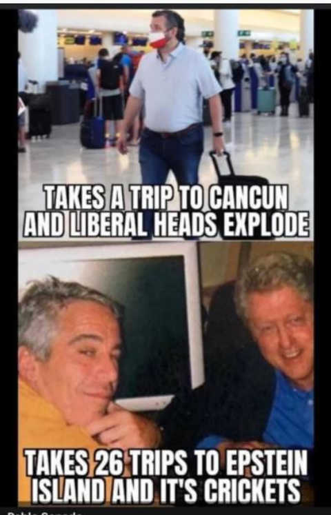 ted cruz cancun media bill clinton epstein 26 trips crickets