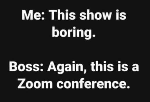 this show boring boss zoom conference
