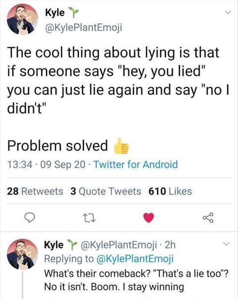 tweet kyle good thing lying lie again problem solved joe biden