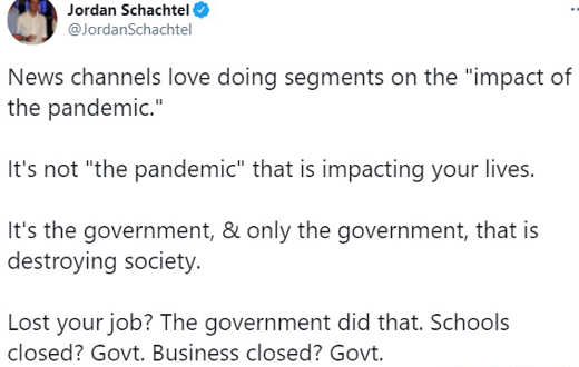 tweet news channel impacts of pandemic government destroying society