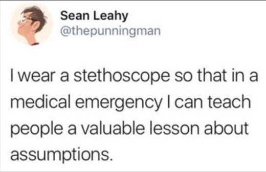 tweet sean leahy stethoscope medical emergency assumptions