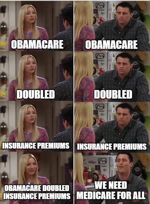 friends obamacare doubled preminums universal medicare for all