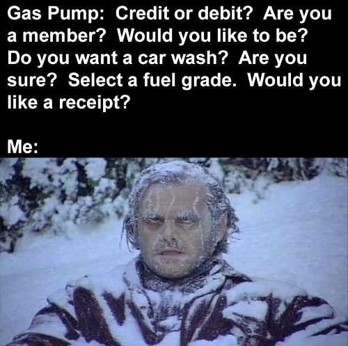 gas pump questions freezing shining jack nicholson
