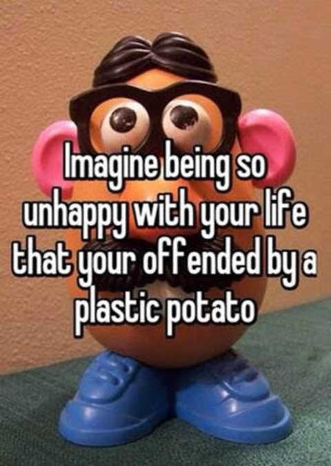 imagine so unhappy with life offended by plastic potato