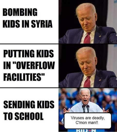 joe biden bombing kids syria overflow facilities sending to school viruses