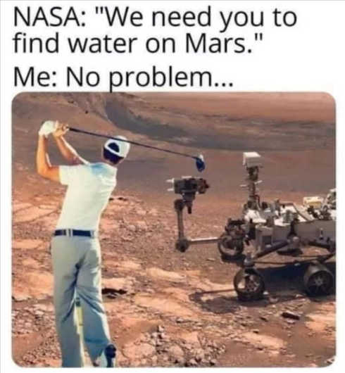 nasa need to find water on mars golfer