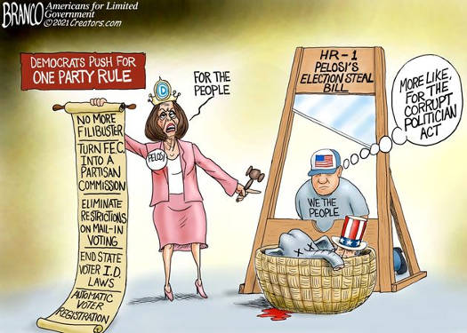 pelosi hr1 eliminate id laws steal election bill guillotine we the people