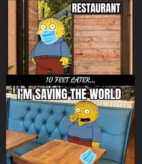 simpsons restaurant mask im saving the world