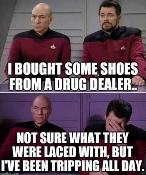 star trek bought shoes from drug deal laced with tripping all day