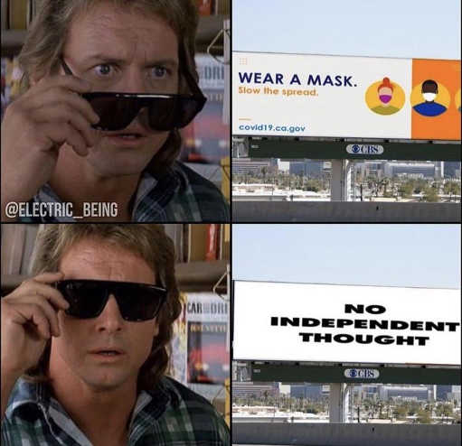 they live wear a mask glasses no independent thought