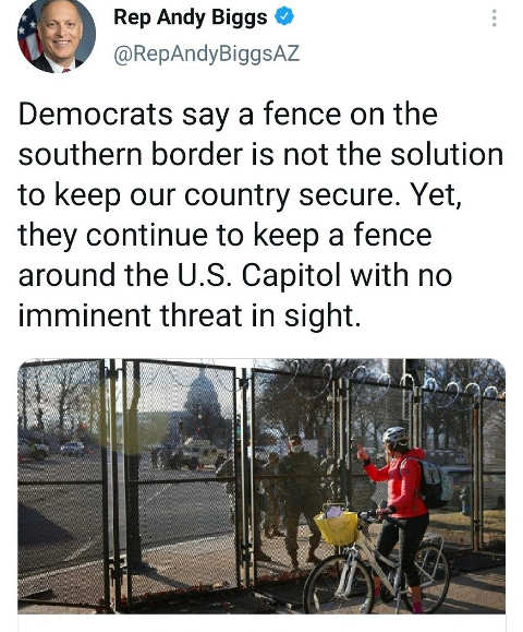 tweet andy biggs democrats fence us capitol