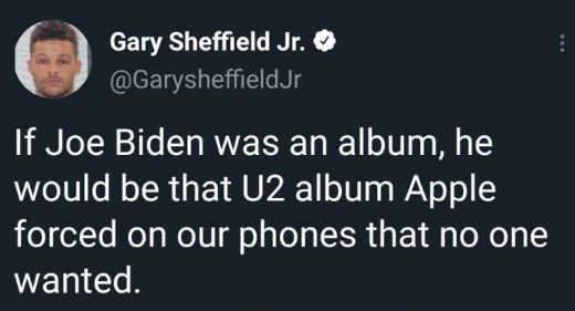 tweet gary sheffield if joe biden album apple forced
