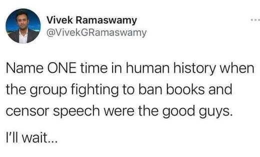 tweet name one time human history censor speech were good guys vivek