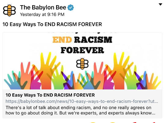 babylon bee 10 ways end racism forever
