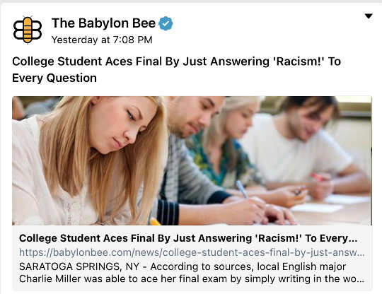 babylon bee college student aces final all answers racism