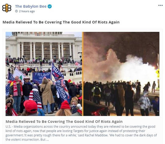 babylon bee media relieved covering good kind of riots again