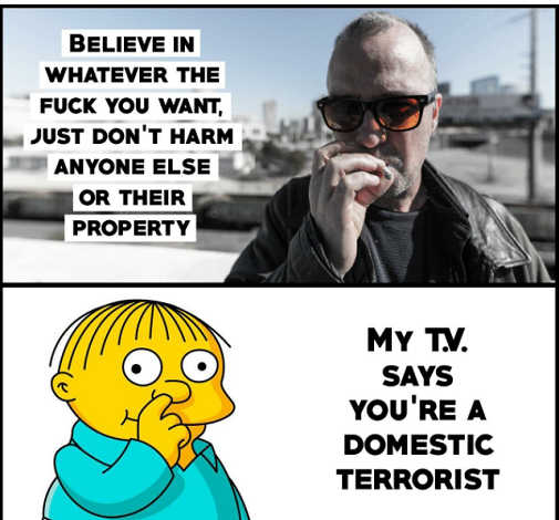 believe whatever you want tv says youre domestic terrorist