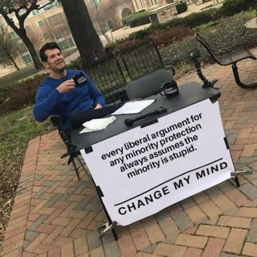 every liberal argument minority assumes is stupid change my mind