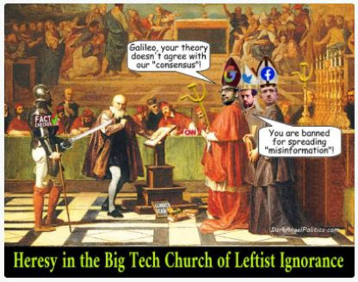 heresy big tech church leftist ignorance google facebook twitter banned for misinformation