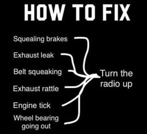 how to fix squeek brakes rattle tick turn radio up