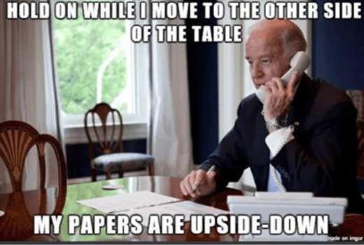 joe biden go to other side table upside down